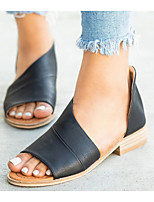 cheap -Women's Sandals Chunky Heel Open Toe PU Summer Yellow / White / Brown