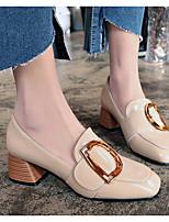 Недорогие -Жен. Обувь на каблуках На толстом каблуке Квадратный носок Полиуретан Весна лето Черный / Бежевый
