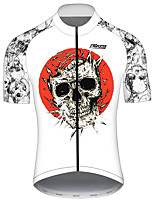 cheap -21Grams Men's Short Sleeve Cycling Jersey Red / White Skull Bike Jersey Top Mountain Bike MTB Road Bike Cycling UV Resistant Breathable Quick Dry Sports Clothing Apparel / Stretchy