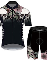 cheap -21Grams Men's Short Sleeve Cycling Jersey with Shorts Black / White Skull Floral Botanical Bike Clothing Suit UV Resistant Breathable 3D Pad Quick Dry Reflective Strips Sports Skull Mountain Bike MTB