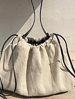 Недорогие -Жен. холст Сумка с верхней ручкой Сплошной цвет Белый