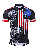 cheap -21Grams Men's Short Sleeve Cycling Jersey Black / Red American / USA Stars National Flag Bike Jersey Top Mountain Bike MTB Road Bike Cycling UV Resistant Breathable Quick Dry Sports Clothing Apparel