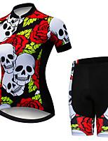Недорогие -21Grams Жен. С короткими рукавами Велокофты и велошорты Красный / Белый Черепа Цветочные ботанический Велоспорт Наборы одежды Дышащий 3D / Слабоэластичная / Быстровысыхающий / Горные велосипеды