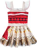 Недорогие -Дети Девочки Классический Симпатичные Стиль Радужный Сетка Без рукавов До колена Платье Красный