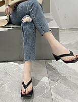 cheap -Women's Slippers & Flip-Flops Low Heel Round Toe PU Spring & Summer White / Silver / Black