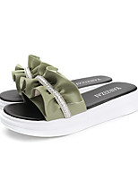 cheap -Women's Slippers & Flip-Flops Creepers Open Toe Rhinestone / Bowknot PU Casual Summer Green / White / Black