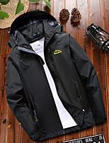 cheap -Men's Hiking Jacket Hiking Windbreaker Winter Outdoor Patchwork Waterproof Windproof Breathable Warm Jacket Top Single Slider Camping / Hiking Hunting Fishing Black / Light Grey / Green / Blue