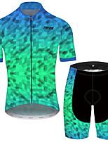 Недорогие -21Grams Муж. С короткими рукавами Велокофты и велошорты Черный / зеленый Клетки геометрический Велоспорт Наборы одежды Устойчивость к УФ Дышащий Быстровысыхающий Впитывает пот и влагу Виды спорта