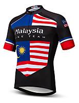 Недорогие -21Grams Муж. С короткими рукавами Велокофты Черный / красный Малайзия Флаги Велоспорт Джерси Верхняя часть Горные велосипеды Шоссейные велосипеды Устойчивость к УФ Дышащий Быстровысыхающий Виды спорта