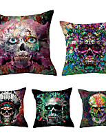 cheap -5 pcs Throw Pillow Simple Classic 45*45 cm Linen Natural / Organic Pillow Cover Pillow Case Solid Colored Floral Plaid Casual Retro Traditional / Classic
