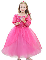 cheap -Princess Princess Jasmine Dress Flower Girl Dress Girls' Movie Cosplay A-Line Slip Cosplay Yellow / Pink / Green Dress Halloween Carnival Masquerade Tulle Polyester
