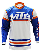 cheap -21Grams Men's Long Sleeve Cycling Jersey Downhill Jersey Dirt Bike Jersey Blue / White Patchwork Bike Jersey Top Mountain Bike MTB Road Bike Cycling UV Resistant Breathable Quick Dry Sports Clothing