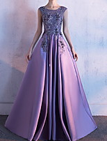 cheap -Ball Gown Floral Luxurious Engagement Formal Evening Dress Jewel Neck Sleeveless Court Train Polyester with Pleats Embroidery 2020