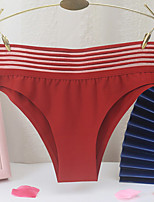 cheap -Women's Basic Brief - Normal Mid Waist Wine Red Khaki One-Size