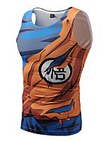 Недорогие -Вдохновлен Жемчуг дракона Goku Косплэй Kостюмы Как у футболки Полиэстер С принтом Рисунок маскарадный Жилетка Назначение Муж.