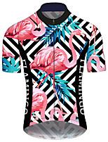 Недорогие -21Grams Муж. С короткими рукавами Велокофты Синий+Розовый В полоску Фламинго Цветочные ботанический Велоспорт Джерси Верхняя часть Горные велосипеды Шоссейные велосипеды / Эластичная / Дышащий