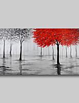 Недорогие -картина маслом ручная роспись - абстрактный современный современный натянутый холст деревья красный серый