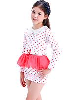 Недорогие -Дети Девочки Милая Симпатичные Стиль Горошек Длинный рукав Выше колена Платье Белый