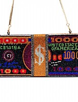 cheap -Women's Crystals / Chain Satin Evening Bag Geometric Pattern Black