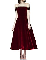 cheap -A-Line Vintage Red Homecoming Cocktail Party Dress Off Shoulder Short Sleeve Ankle Length Polyester with Sleek 2020