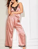 Недорогие -Жен. Кружева Костюм Ночное белье Контрастных цветов Винный Розовый Пурпурный S M L