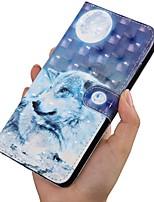 Недорогие -Кейс для Назначение SSamsung Galaxy A5(2018) / A6 (2018) / A6+ (2018) Кошелек / Бумажник для карт / со стендом Чехол Животное Кожа PU