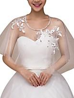cheap -Half Sleeve Collars Tulle Wedding Shawl & Wrap With Rhinestone
