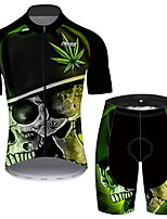 cheap -21Grams Men's Short Sleeve Cycling Jersey with Shorts Black / Green Gradient Leaf Skull Bike Clothing Suit UV Resistant Breathable 3D Pad Quick Dry Reflective Strips Sports Gradient Mountain Bike MTB