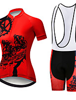 cheap -21Grams Women's Short Sleeve Cycling Jersey with Bib Shorts Black / Red Gear Bike Clothing Suit Breathable 3D Pad Quick Dry Ultraviolet Resistant Sweat-wicking Sports Solid Color Mountain Bike MTB