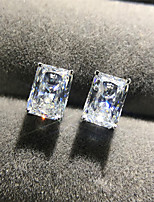cheap -4 carat Synthetic Diamond Earrings Alloy For Women's Square Cut Stylish Luxury Classic Elegant Wedding Party Evening Formal High Quality Classic 1 Pair