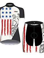 Недорогие -21Grams Жен. С короткими рукавами Велокофты и велошорты Черный / Белый Американский / США Флаги Велоспорт Наборы одежды Дышащий Быстровысыхающий Ультрафиолетовая устойчивость Впитывает пот и влагу