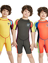 cheap -Dive&Sail Boys' Girls' Shorty Wetsuit 2.5mm SCR Neoprene Diving Suit Windproof Anatomic Design Short Sleeve Back Zip Patchwork Autumn / Fall Spring Summer / High Elasticity / Kids