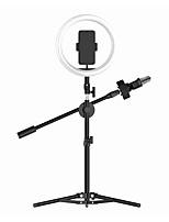 Недорогие -светодиодные селфи палочка с микрофоном заполняют свет USB диммируемый телефон кольцо света с штативом использовать 26см