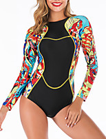 cheap -Women's One Piece Swimsuit Retro Padded Swimwear Swimwear Black Thermal / Warm Breathable Quick Dry Long Sleeve - Swimming Surfing Water Sports Autumn / Fall Spring / Stretchy