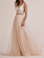 cheap -A-Line Elegant Gold Engagement Prom Dress V Neck Sleeveless Floor Length Tulle with Beading Appliques 2020