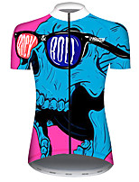 cheap -21Grams Women's Short Sleeve Cycling Jersey Red+Blue Novelty Skull Bike Jersey Top Mountain Bike MTB Road Bike Cycling UV Resistant Breathable Quick Dry Sports Clothing Apparel / Stretchy / Race Fit