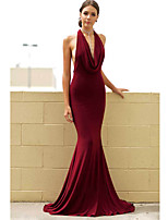 cheap -Mermaid / Trumpet Sexy Red Engagement Formal Evening Dress V Neck Sleeveless Sweep / Brush Train Polyester with Draping 2020