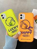 Недорогие -для яблока iphone 11 11pro 11promax 8p x xs xsmax xr 6p 6 7 8 простой мультфильм мальчик девочка картина флуоресцентный высокий полупрозрачный тпу материал чехол для телефона