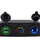 Недорогие -Автомобильное зарядное устройство 5 В / 3-луночная палатка 4.2a с двойной диафрагмой USB синий красный зеленый / IP65 / DC12V DC24V Универсальное напряжение / материал для защиты окружающей среды