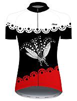 Недорогие -21Grams Жен. С короткими рукавами Велокофты Черный / красный Цветочные ботанический Велоспорт Джерси Верхняя часть Горные велосипеды Шоссейные велосипеды Устойчивость к УФ Дышащий Быстровысыхающий