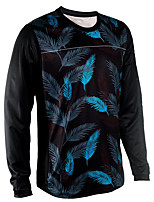 cheap -21Grams Men's Long Sleeve Cycling Jersey Downhill Jersey Dirt Bike Jersey Black / Blue Leaf Floral Botanical Bike Jersey Top Mountain Bike MTB Road Bike Cycling UV Resistant Breathable Quick Dry