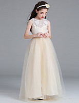 cheap -Princess / A-Line Round Floor Length Lace / Tulle Junior Bridesmaid Dress with Bow(s)