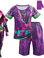 cheap -Descendants Cosplay Cosplay Costume Outfits Girls' Movie Cosplay Cosplay Halloween Purple Top Pants Gloves Carnival Masquerade Polyester