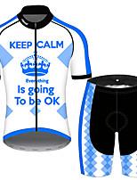 Недорогие -21Grams Муж. С короткими рукавами Велокофты и велошорты Синий / белый Новинки Корона Велоспорт Наборы одежды Устойчивость к УФ Дышащий Быстровысыхающий Впитывает пот и влагу Виды спорта Сплошной цвет
