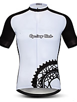cheap -21Grams Men's Short Sleeve Cycling Jersey Black / White Gear Bike Jersey Top Mountain Bike MTB Road Bike Cycling UV Resistant Breathable Quick Dry Sports Clothing Apparel / Stretchy / Race Fit