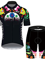 cheap -21Grams Men's Short Sleeve Cycling Jersey with Shorts Black / Green Butterfly Floral Botanical Bike Clothing Suit UV Resistant Breathable 3D Pad Quick Dry Reflective Strips Sports Butterfly Mountain