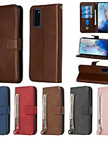 cheap -Case For Samsung Galaxy A50/Galaxy A20e / Galaxy Note 10 Wallet / Card Holder / with Stand Full Body Cases Solid Colored PU Leather For Galaxy A50S/A30S/A20S/A10S/A51/A71/S20 Ultra/Note 10 Plus
