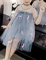 cheap -Kids Girls' Cute Street chic Patchwork Bird Bow Embroidered Mesh Half Sleeve Dress Blushing Pink