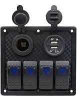 Недорогие -Автомобильное зарядное устройство на 5 В / прикуриватель / 5-контактный двойной светильник 4-позиционный переключатель Подставка для сигарет с двойной комбинированной панелью USB / ip65 / черная /