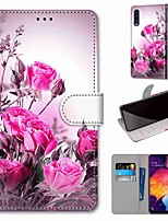 cheap -Case For Samsung Galaxy S20 / S20 Plus / S20 Ultra Wallet / Card Holder / with Stand Full Body Cases Wild Rose PU Leather / TPU for A51 / A71 / A81 / A91 / A01 / A21 / A50(2019) / A30s(2019)